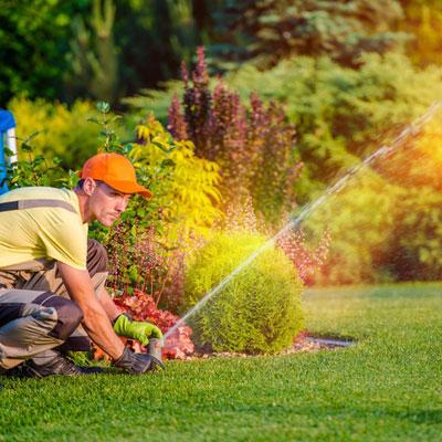 Man installing a sprinkler system